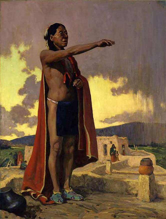 """The First American"", 1928, oil on fabric support, 46 x 35 inches, courtesy Harrison Eiteljorg, The Eiteljorg Museum of American Indians and Western Art, Indianapolis, Indiana."