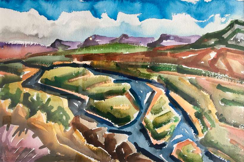 Lot 24 | Dean Porter | Chama River out O'Keeffe Way, 2001 | 15x22 | watercolor | donated by the artist | est. $1400-$1700
