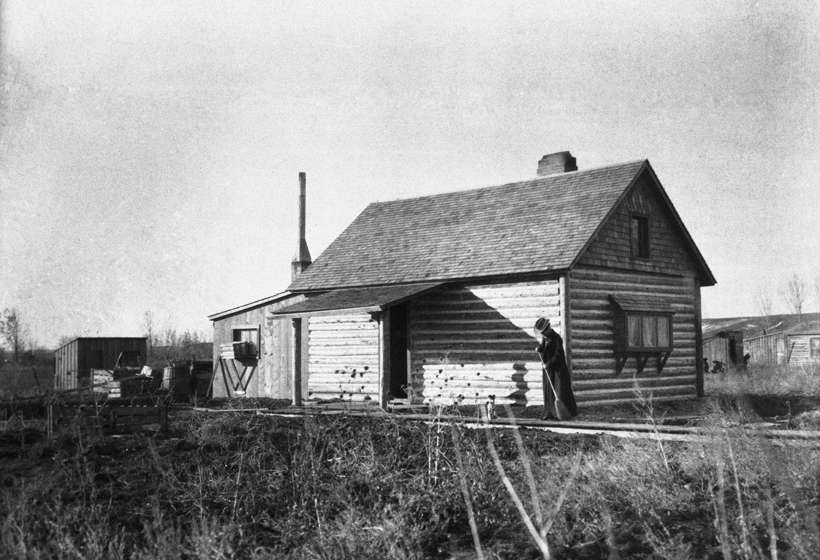 Addie Sharp Sweeping Cabin, Crow Agency, circa 1903, Buffalo Bill Center of the West, Cody, Wyoming, Gift of Mr. and Mrs. Forrest Fenn, P.22.531.