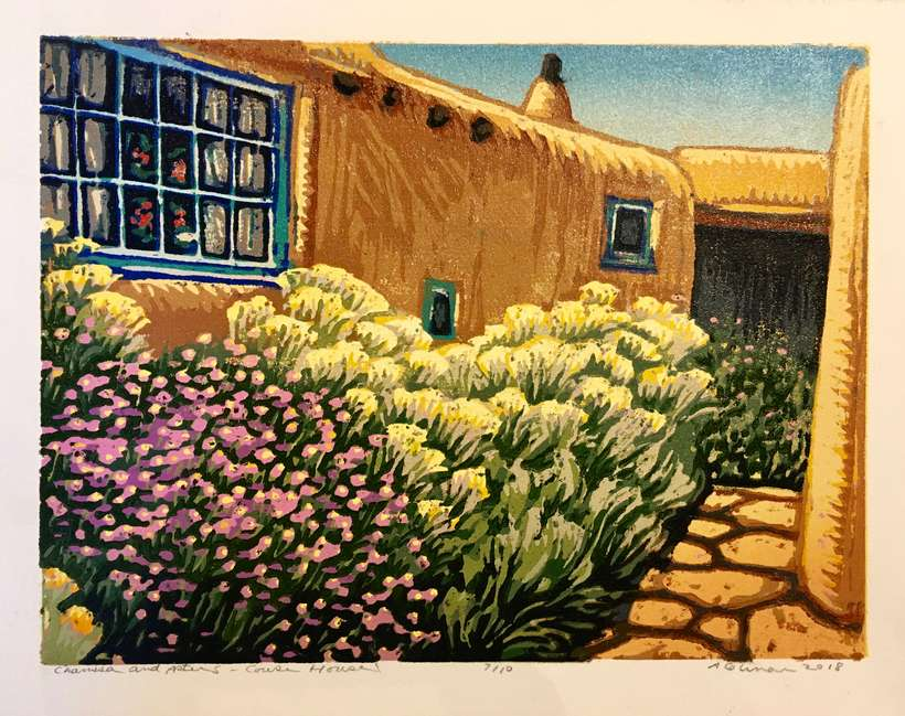 Lot 28 | Angie Coleman | Chamisa and Asters, Couse House, 2018 | 9x12 | woodblock print | donated by the artist | signed, numbered 7/10 | est. $425-$550
