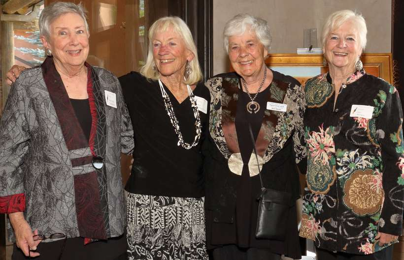 Virginia Couse Leavitt, second from right, shares a moment with well-coordinated volunteers (from left) Mary Ann Boughton, Kay Lytton-Smith, and Sue Morgan.