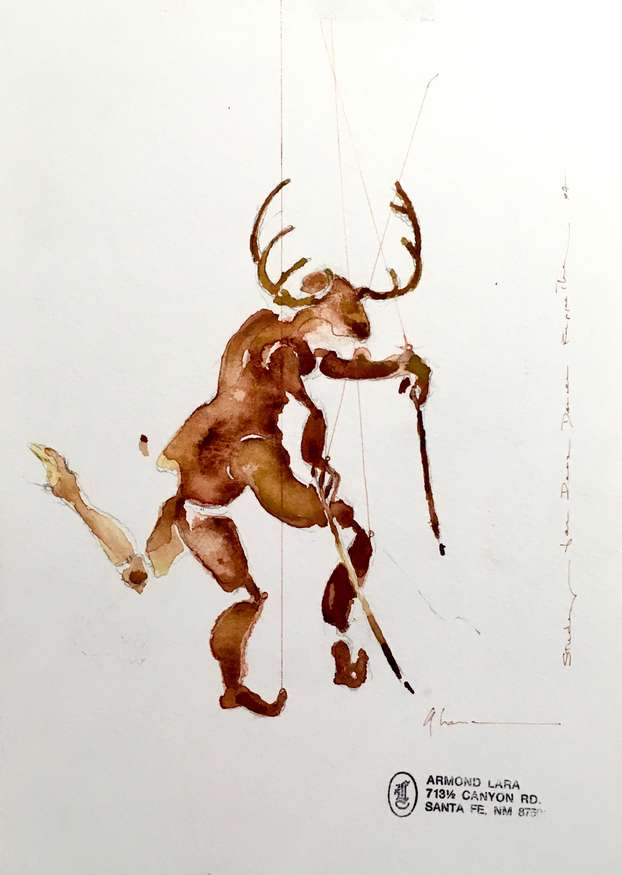 Lot 43 | Armond Lara | Study for Deer Dancer Puppetry, 1997 | 8x11 | watercolor | donated by Farahnheight Gallery | est. $900-$1100