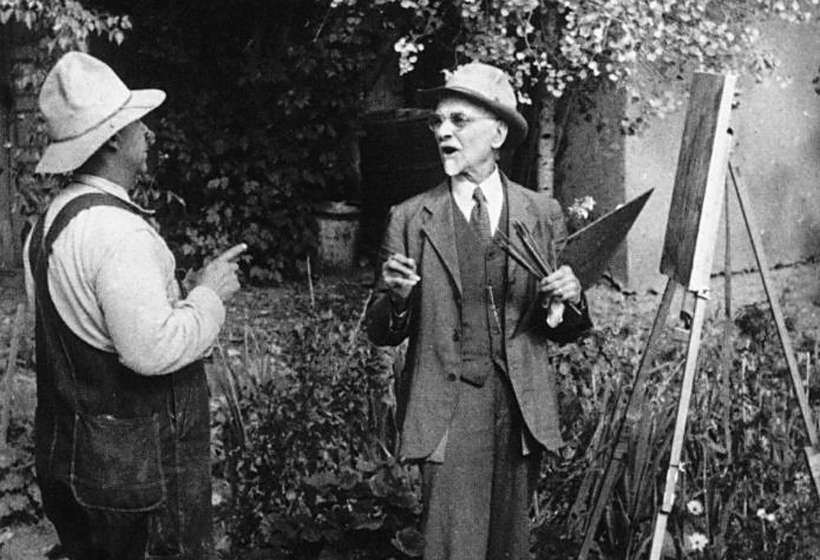 Alois Leibert with Sharp in his garden.