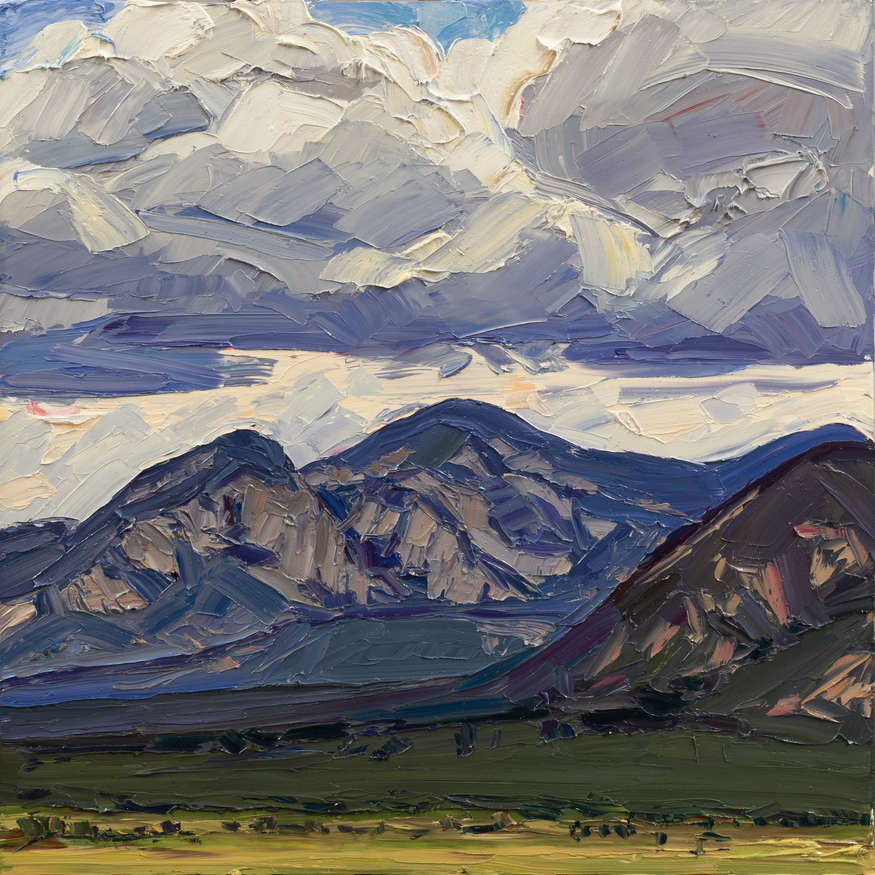 Jivan Lee | Across to El Salto, 2018 | oil on panel | 24x24 | donated by the artist | est. $6000-$8000 | Plein air painted scene near Taos