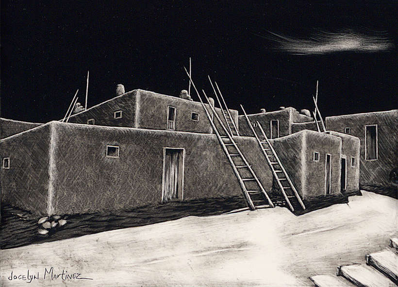 Lot 40 | Jocelyn Martinez | My Brother's House, 2019 | black scratchboard | 5x7 | donated by the artist | est. $1300-$1500