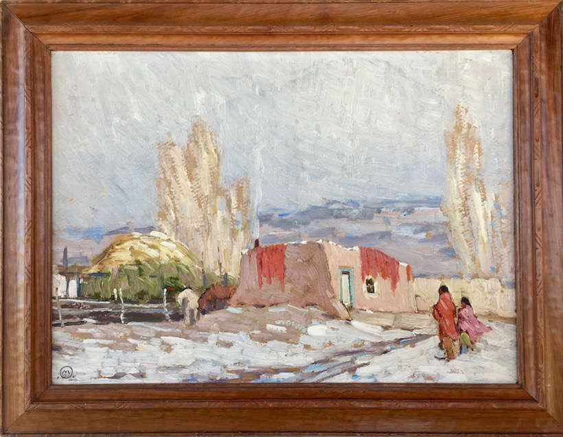 "The Ralph Meyers painting ""Pueblo Home with Chili Ristras,"" c. 1918, was donated by Virginia Couse Leavitt and sold for $12,000 to make it the co-top gainer for the auction."