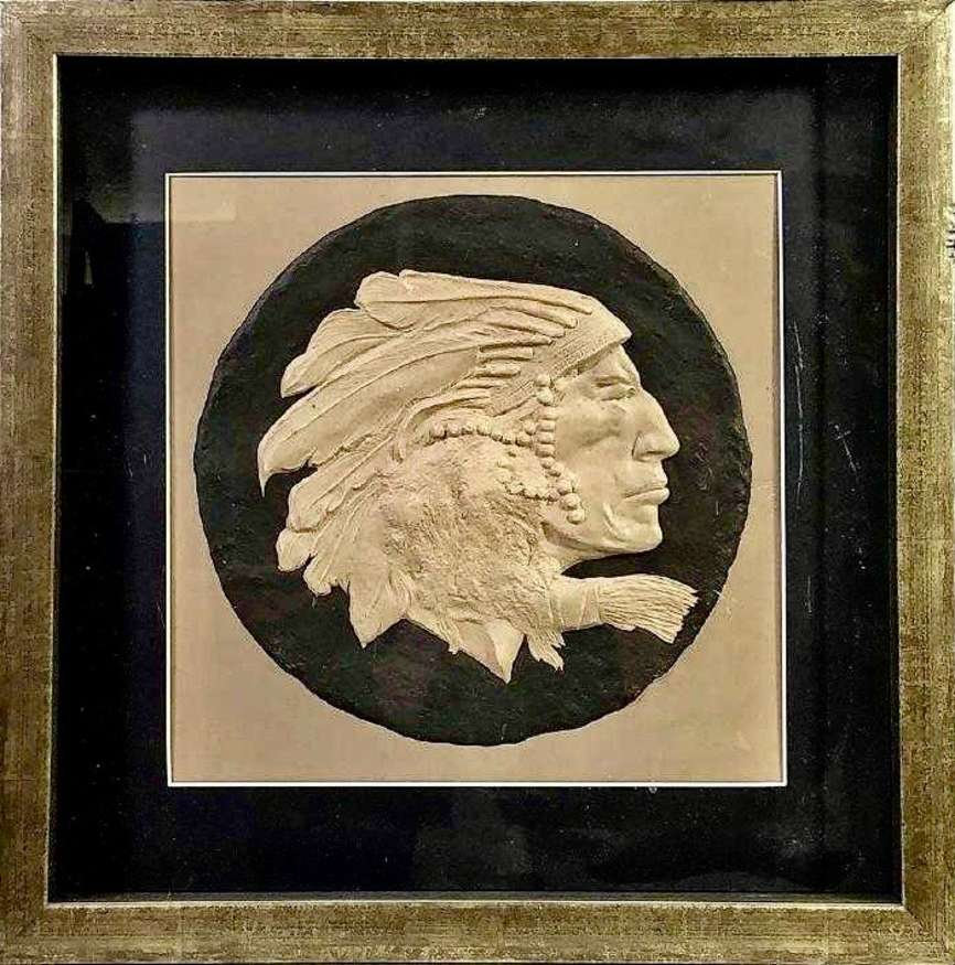 Lot 36 | O. E. Berninghaus, 1874-1952 | The Old Chief, 1901 | paper bas-relief | 9.75x9.75 | donated by Rich Payne & Jane Goldberg | est. $350-$425