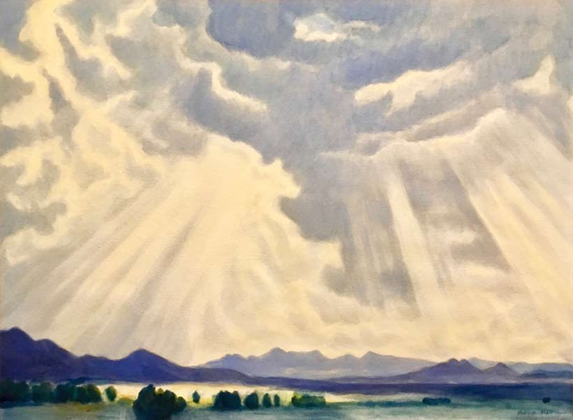 Gene Kloss, 1903-1996 | Untitled, ca. 1940 | watercolor | 25x18.5 | donated by Virginia Couse Leavitt | est. $10000-$12000 | Walking rain in Taos Valley