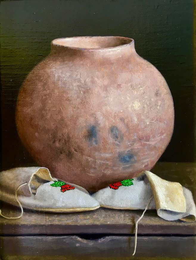 No. 2 | William Acheff | Storage Jar and Summer Mocs, 2018 | 8x6 | oil | donated by the artist | est. $5500
