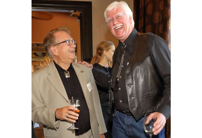Foundation patron Tom Azzari shares a laugh with Tim Newton, chairman of the board of the Salmagundi Club.