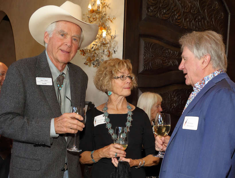 "Couse Foundation Founder Al Olson and his wife, Carol Ann, chat with Thomas Minckler, author of ""In Poetic Silence: The Floral Paintings of Joseph Henry Sharp."""