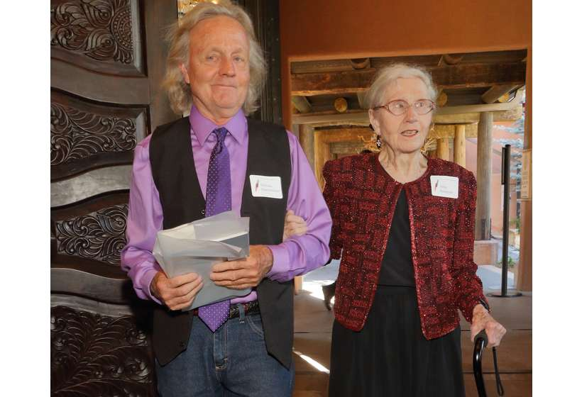 Rena Rosequist of Mission Gallery, escorted by her son Nicholas Oppenheimer at the 2017 Gala. After her retirement, Rena sold the historic gallery building to the Foundation for repurposing as a research center.