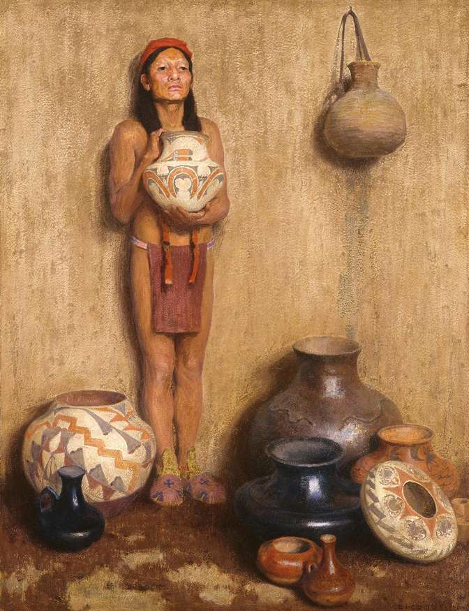 """Pottery Vendor"", 1916, oil on canvas, 45 ½ x 34 ½ inches, The Eugene B. Adkins Collection at the Fred Jones Jr. Museum of Art, the University of Oklahoma,  Norman, and the Philbrook Museum of Art, Tulsa, Oklahoma."