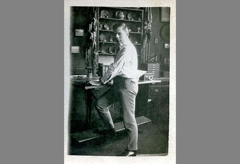 Kibbey Couse at his drafting table, around 18 years old.