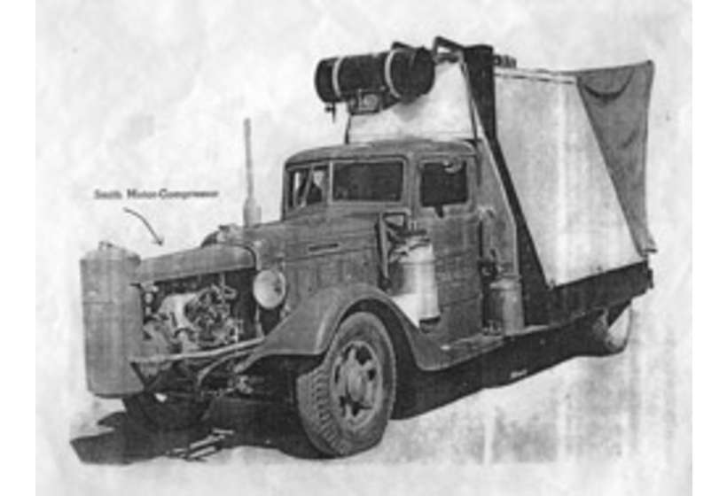 The Diamond T truck on which Kibbey Couse built the first mobile machine shop in the family garage.