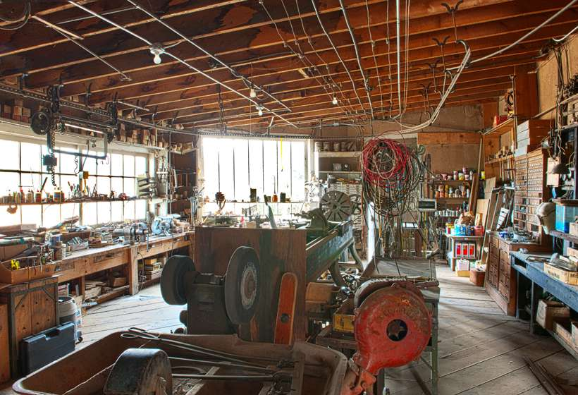 Kibbey Couse's machine shop in the family garage.
