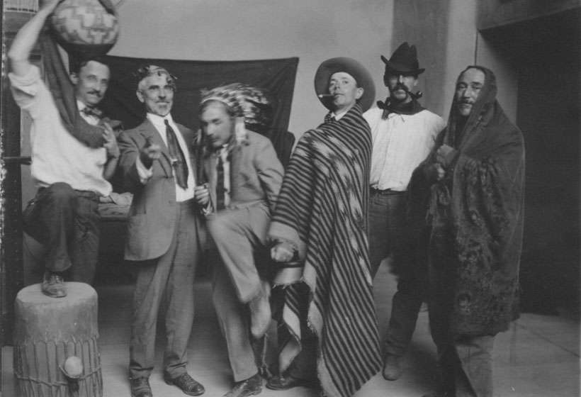 Members of the Taos Society of Artists clowning for the camera in Couse's studio (L-R, E.L. Blumenschein, J.H. Sharp, B.G. Phillips, O.E. Berninghaus, W.H. Dunton, and E.I. Couse).